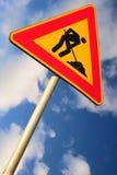 Segnale stradale di lavoro in corso Fotografia Stock