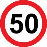 segnale stradale di limitazione di 50 velocità Immagini Stock Libere da Diritti