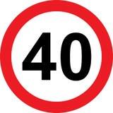 segnale stradale di limitazione di 40 velocità illustrazione di stock