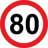 segnale stradale di limitazione di 80 velocità illustrazione di stock