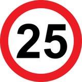 segnale stradale di limitazione di 25 velocità illustrazione vettoriale