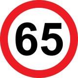 segnale stradale di limitazione di 65 velocità illustrazione di stock