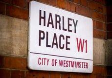 Segnale stradale di Londra, Harley Place Fotografia Stock