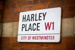 Segnale stradale di Londra Harley Place, Marlyebone Fotografia Stock