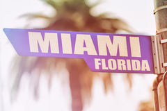 Segnale stradale di Miami Florida Immagini Stock Libere da Diritti