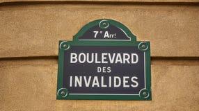 Segnale stradale di Parigi Fotografia Stock