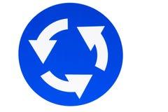 Segnale stradale di raccordo anulare blu su un fondo bianco immagine stock