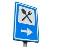 Segnale stradale di servizio di Dinning isolato su bianco Fotografia Stock