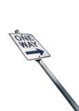 Segnale stradale di strada a senso unico isolato su fondo bianco Fotografia Stock Libera da Diritti