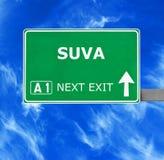 Segnale stradale di SUVA contro chiaro cielo blu fotografia stock
