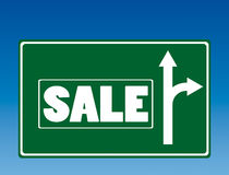 Segnale stradale di vendita Fotografia Stock