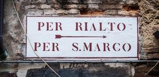 Segnale stradale di Venezia immagini stock libere da diritti