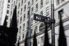 Segnale stradale di Wall Street in Manhattan più bassa, New York fotografia stock