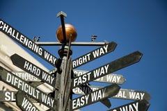 Segnale stradale direzionale con i messaggi misti Immagine Stock Libera da Diritti