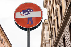 Segnale stradale divertente Fotografie Stock Libere da Diritti
