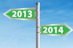 segnale stradale 2013 e 2014 Fotografia Stock Libera da Diritti