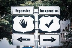 Segnale stradale economico contro costoso fotografie stock libere da diritti