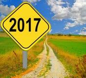 segnale stradale giallo 2017 Immagine Stock Libera da Diritti