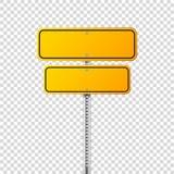 Segnale stradale giallo della strada Bordo in bianco con il posto per testo Modello Segnale di informazione isolato senso Vettore illustrazione vettoriale