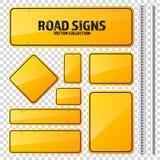 Segnale stradale giallo della strada Bordo in bianco con il posto per testo Modello Segnale di informazione isolato senso Vettore illustrazione di stock