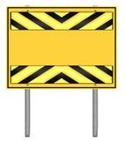 Segnale stradale giallo e nero di cautela Fotografia Stock Libera da Diritti