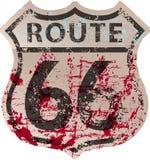 Segnale stradale Grungy dell'itinerario 66, materiale illustrativo di fictonal Fotografia Stock Libera da Diritti