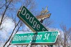 Segnale stradale - Iowa City Immagini Stock