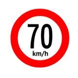 Segnale stradale limite di velocità 70 illustrazione di stock