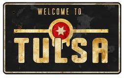 Segnale stradale Logo Art Vintage di Tulsa Oklahoma immagine stock libera da diritti