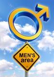Segnale stradale maschio di simbolo con il testo di zona del mens illustrazione di stock