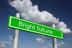 Segnale stradale per futuro luminoso Fotografia Stock Libera da Diritti