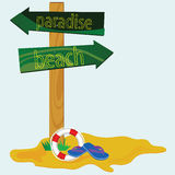 Segnale stradale per l'illustrazione di vettore della spiaggia di paradiso Immagini Stock