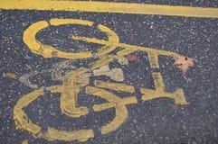 Segnale stradale per le piste ciclabili, pista ciclabile fotografia stock
