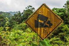 Segnale stradale in pieno dei fori del fucile da caccia Fotografie Stock Libere da Diritti