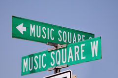 Segnale stradale quadrato di musica a Nashville, Tennessee Fotografie Stock Libere da Diritti