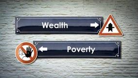 Segnale stradale ricco contro Overty immagini stock libere da diritti