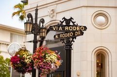 Segnale stradale, Rodeo Drive, Beverly Hills, Los Angeles, California, Stati Uniti d'America, Nord America fotografie stock libere da diritti
