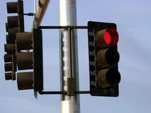 Segnale stradale rosso fotografie stock