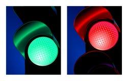 Segnale stradale rosso e verde Fotografie Stock