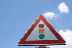 Segnale stradale taffic triangolare del segnale, Germania Fotografia Stock Libera da Diritti