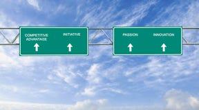 Segnale stradale a vantaggio competitivo Immagini Stock Libere da Diritti