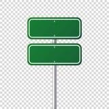 Segnale stradale verde della strada Bordo in bianco con il posto per testo Modello Segnale di informazione isolato senso Vettore illustrazione vettoriale