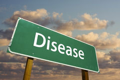Segnale stradale verde di malattia Immagine Stock Libera da Diritti
