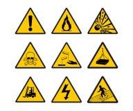 Segnaletica di sicurezza d'avvertimento Fotografie Stock Libere da Diritti