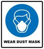 Segnaletica di sicurezza, maschera di polvere di usura Immagini Stock