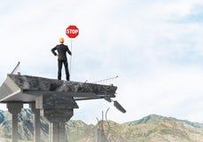 Segnaletica di sicurezza sicura della via della tenuta dell'ingegnere Fotografie Stock Libere da Diritti