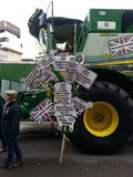 Segnali degli agricoltori Manifestazione 2014 di sindaco di signore di parata Immagini Stock Libere da Diritti