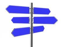 Segnali di direzione blu in bianco su una colonna del metallo Fotografia Stock