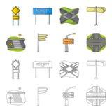 Segnali di direzione e l'altra icona di web nel fumetto, stile del profilo Bivi ed icone dei segni nella raccolta dell'insieme Fotografia Stock