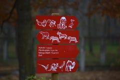 Segnali di informazione allo zoo Fotografia Stock